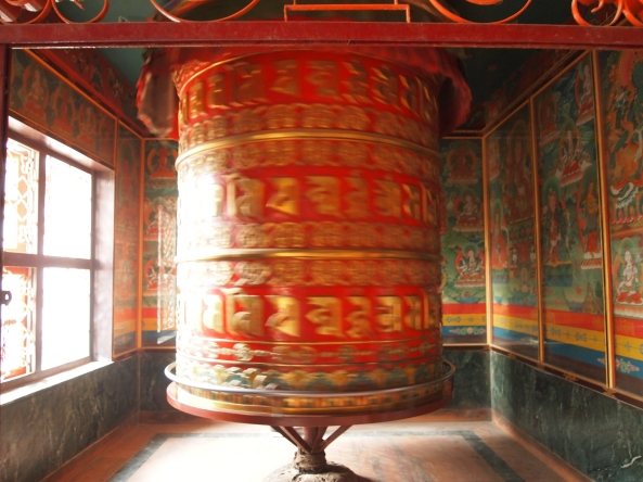 the large prayer wheel in Tamang gompa