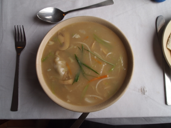 Momo and vegetable noodle soup at Boudha Kitchen