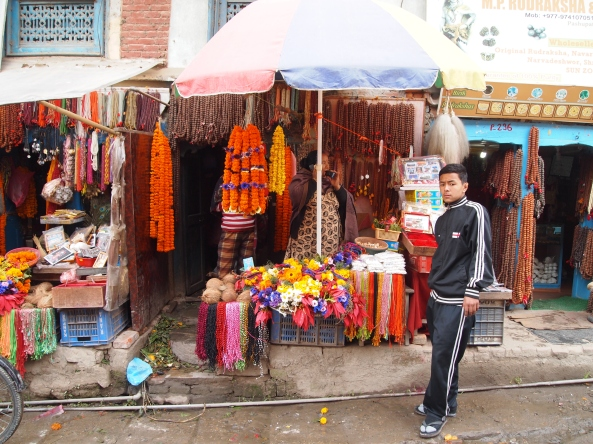 a shop on the way to Pashupatinath ~ selling marigolds used in cremation ceremonies