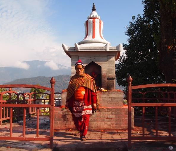 a rather unique looking Hindu worshipper