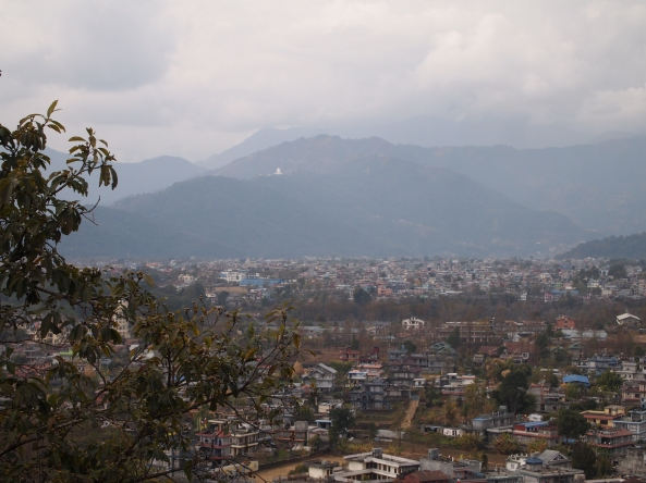 the view of Pokhara from the monastery