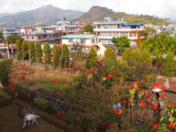 the view of Pokhara and the gardens from the Pokhara View Garden Hotel