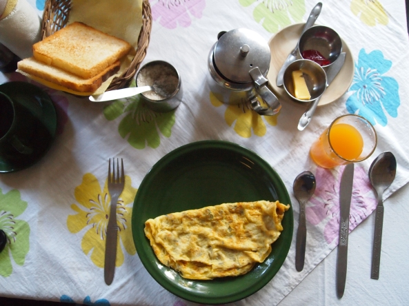 an omelet for breakfast at the Pokhara View Garden Hotel