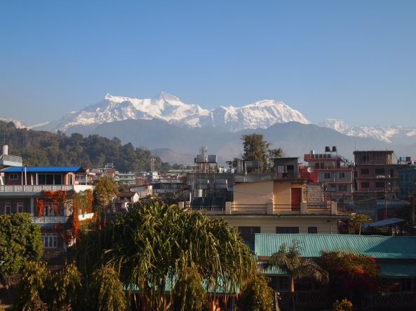 one last view of the Himalayas from my balcony in Pokhara