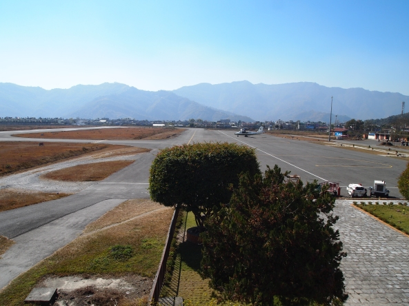 the deserted Pokhara airport.  Where's the plane?  Any plane will do.
