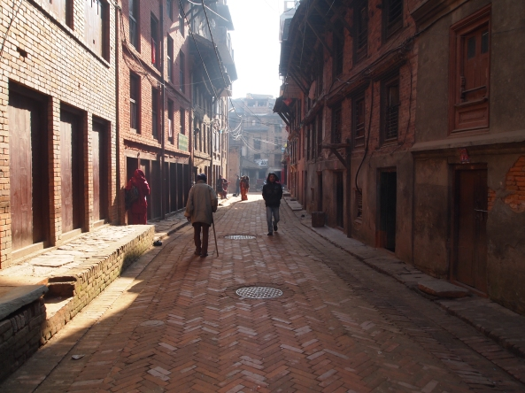the herringbone-paved streets of Bhaktapur