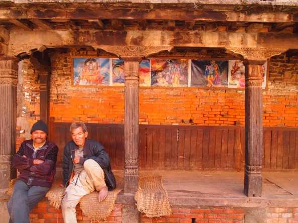 a wall in Bhaktapur, Nepal