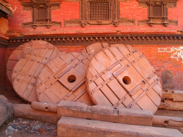 chariot wheels used in the Bisket New Year celebration
