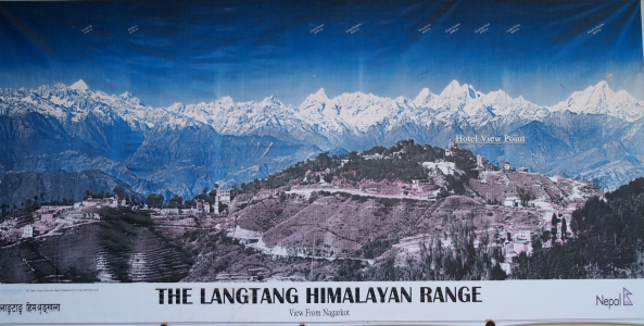 a map of the Langtang Range found on the hotel balcony