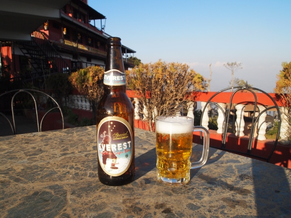 an Everest beer before sunset