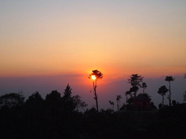 sunset at Nagarkot, looking away from the Langtang Range