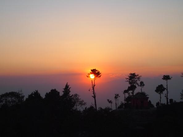 sunset at Nagarkot, looking away from the Langtang Range
