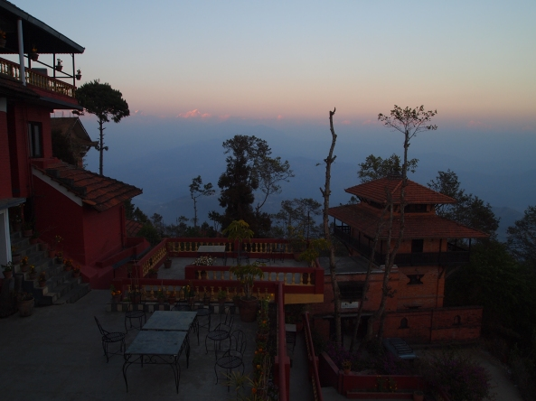 Looking out over the hotel grounds to the Himalayas
