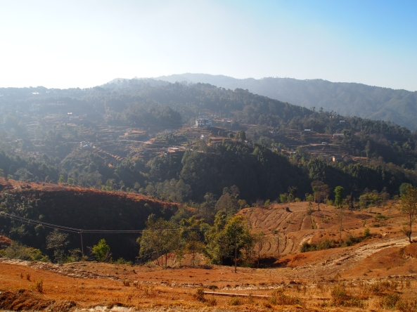 Beginning our hike: terraced hills