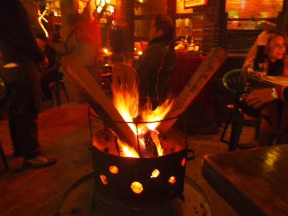 a warm fire at New Orleans Cafe