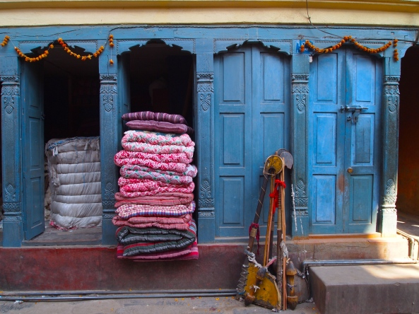 colorful bedding and doors