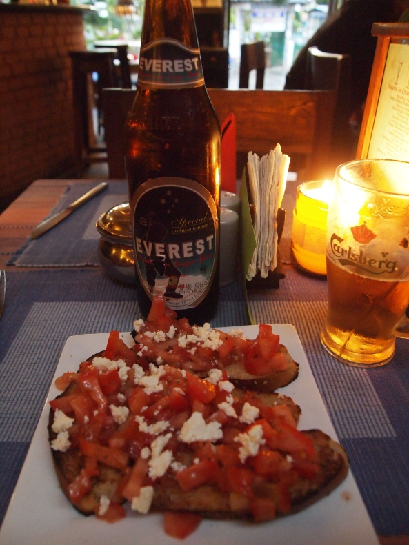 bruschetta with feta and Everest Beer