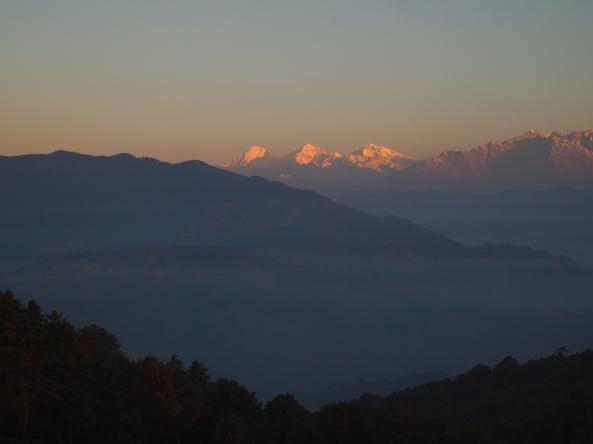 sunlight on the mountaintops